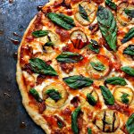 Grilled Peach and Chicken Pizza with Fresh Basil