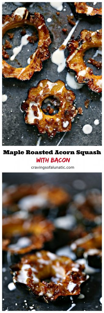 This Maple Roasted Acorn Squash with Bacon is a quick and easy recipe that is perfect for fall. Perfect for every day or holidays.