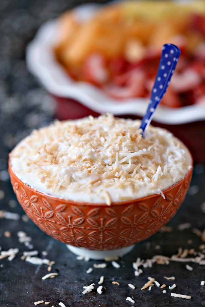Coconut Cream Pie Dip is quick, easy and absolutely delicious. Sprinkle some toasted coconut over top to make it extra special.