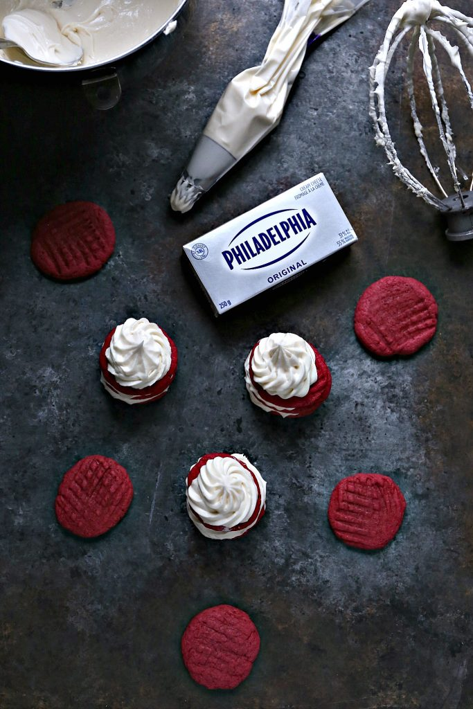 These Red Velvet Cream Cheese Cookie Stacks with Cream Cheese Frosting are a fun way to celebrate special occasions and holidays.