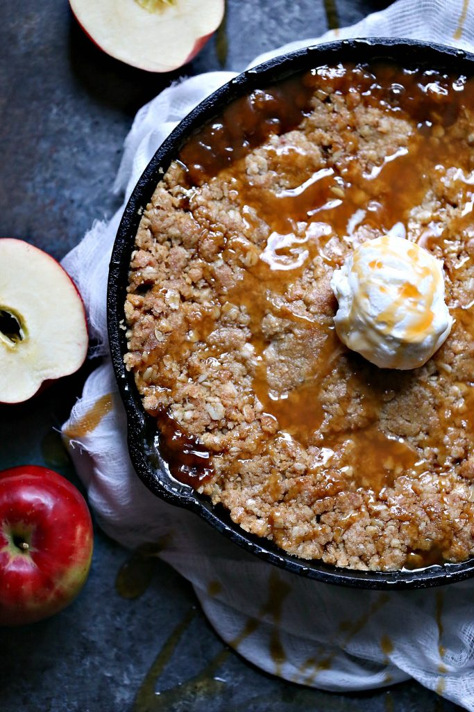 This Skillet Caramel Apple Crisp is the perfect easy dessert recipe for everyday, special occasions or holidays.