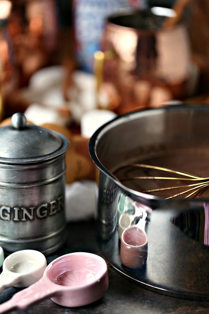 Gingerbread hot chocolate cooked on the stovetop for the ultimate hot chocolate experience.
