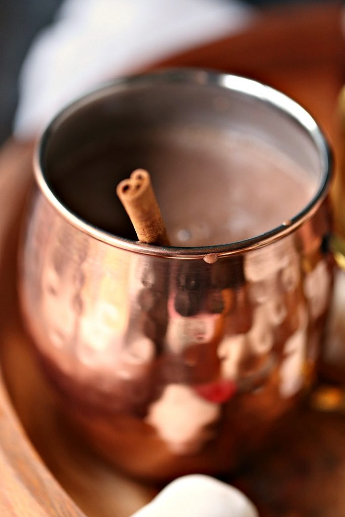 Gingerbread hot chocolate in a mug with a cinnamon stick for stirring.