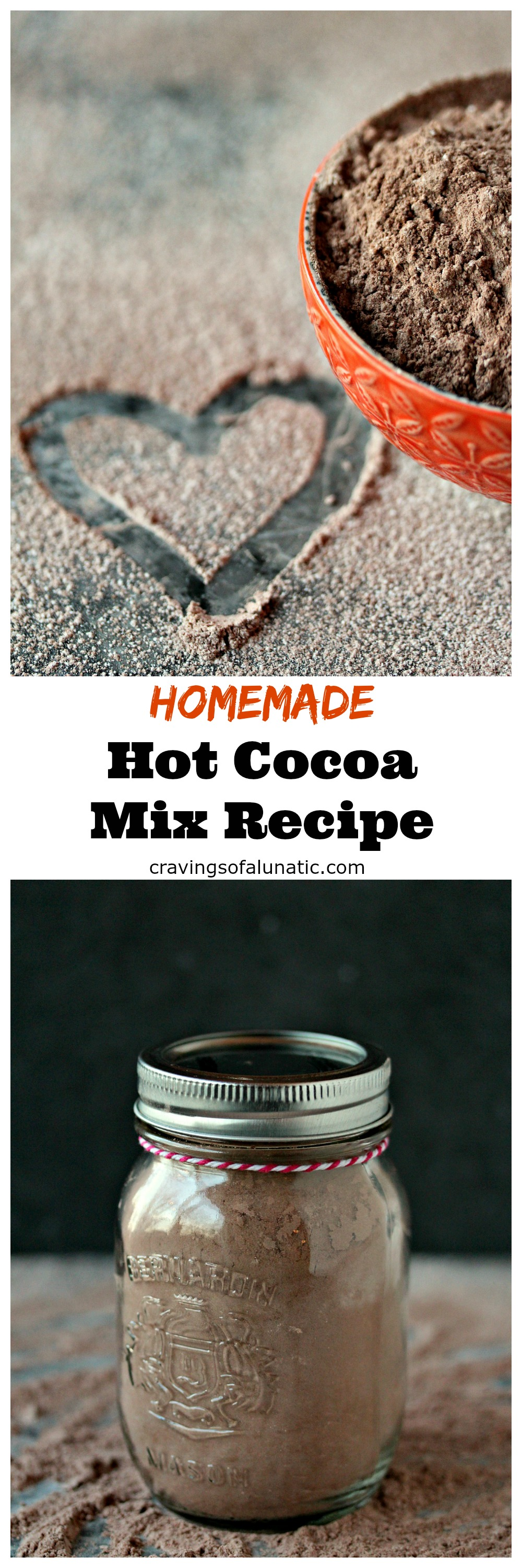 Homemade hot cocoa mix is the perfect easy recipe for anyone that loves chocolate. Make a big batch to give as gifts for the holidays!