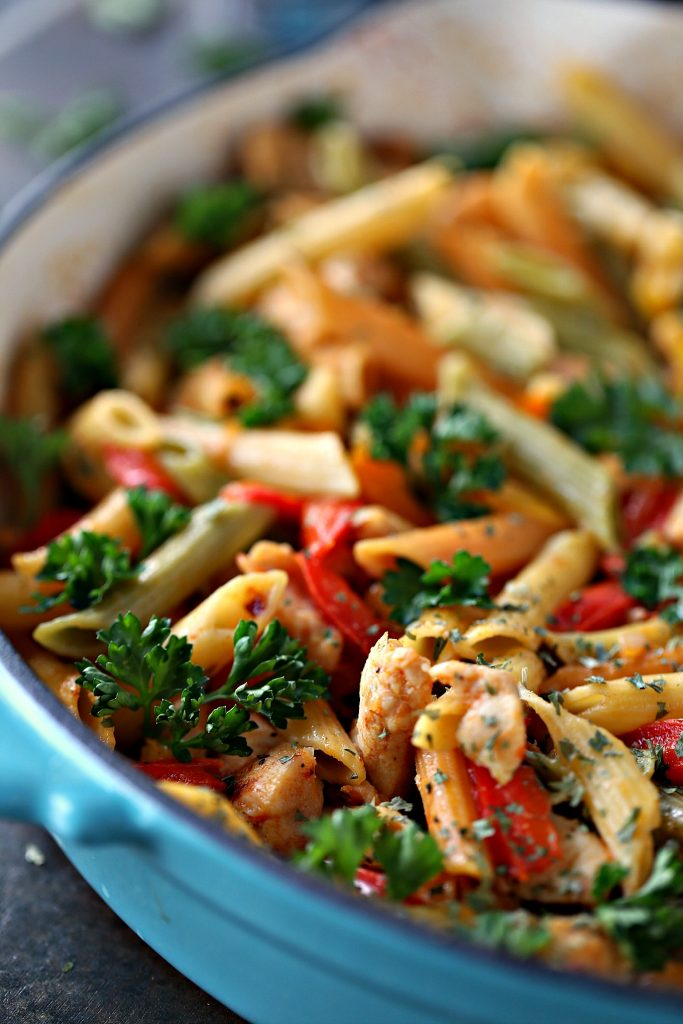 This 30 Minute Chicken Vegetable Skillet Pasta is super quick and easy to make. It uses simple ingredients for a meal the whole family will love!