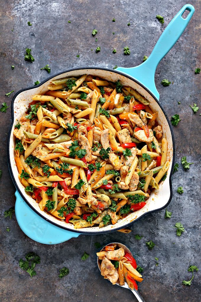 30 Minute Chicken Vegetable Skillet Pasta Cravings Of A Lunatic