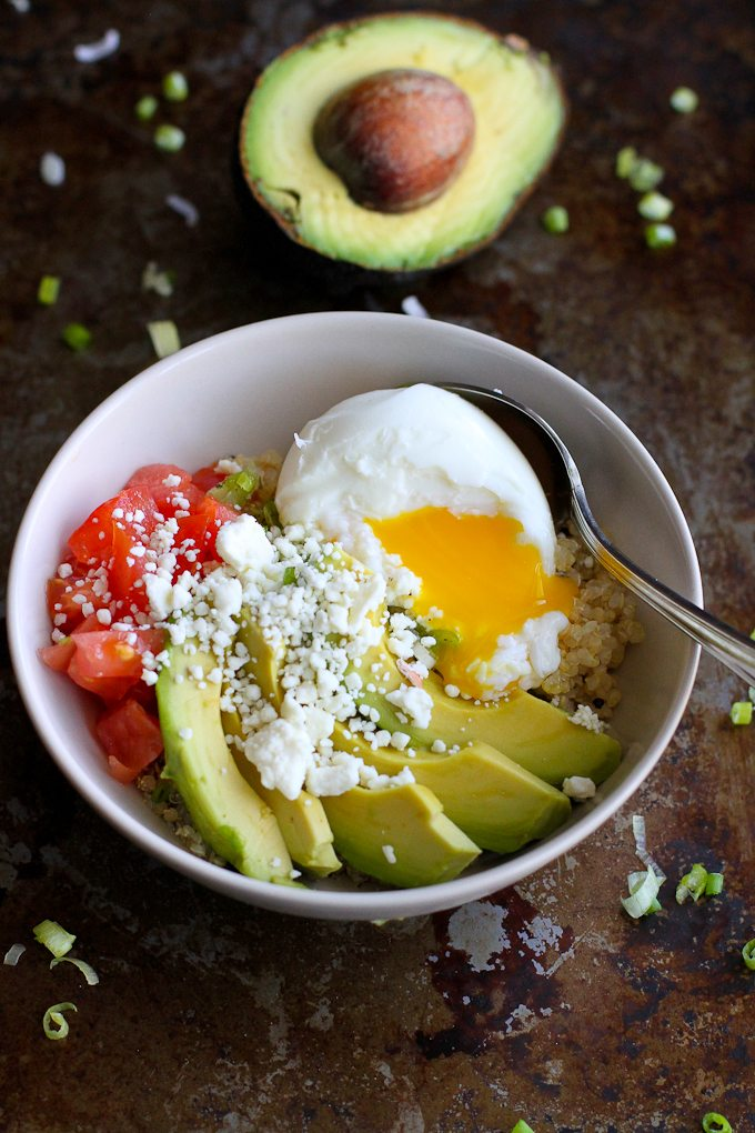 Quinoa Avocado Breakfast Bowl from Cookin' Canuck. You'd never guess that such an easy quinoa breakfast bowl has such amazing flavor. You can't beat the fresh avocado on top!
