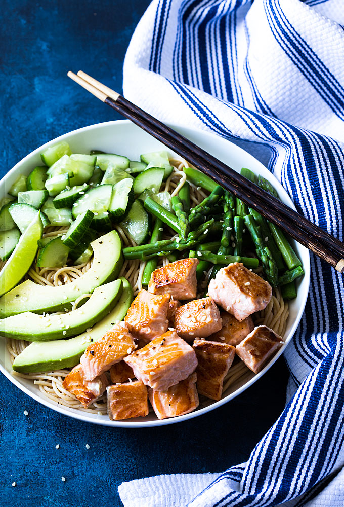Salmon Noodle Bowls from The Blond Cook. Salmon Noodle Bowls - You're just 30 minutes away from this healthier pasta dish with fresh salmon, whole grain noodles and veggies!