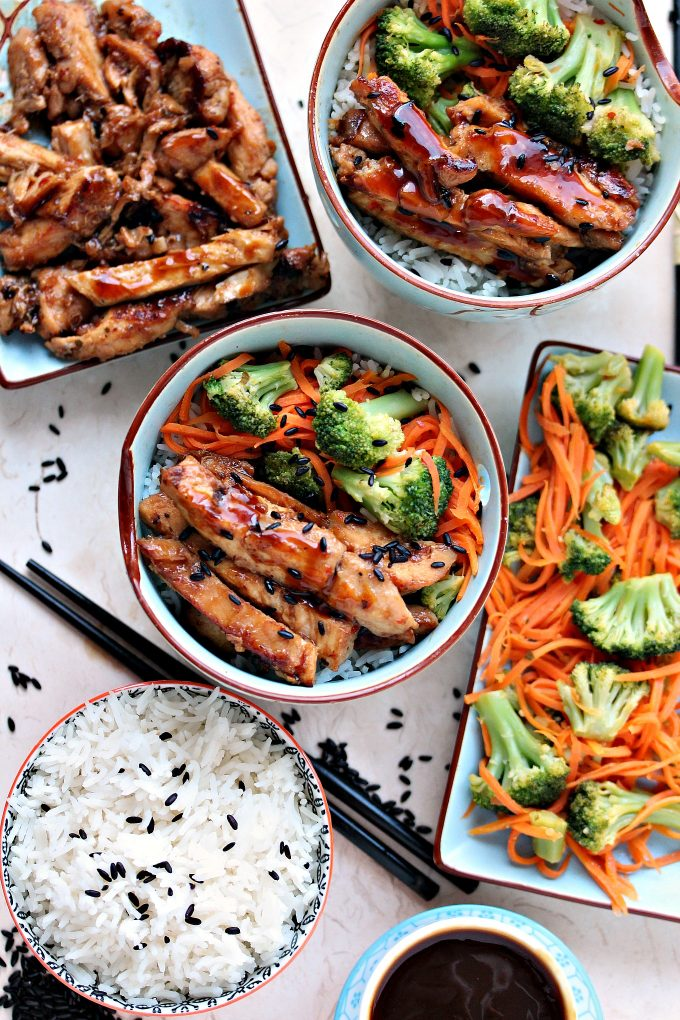 Easy Chicken Teriyaki Bowls from Cravings of a Lunatic