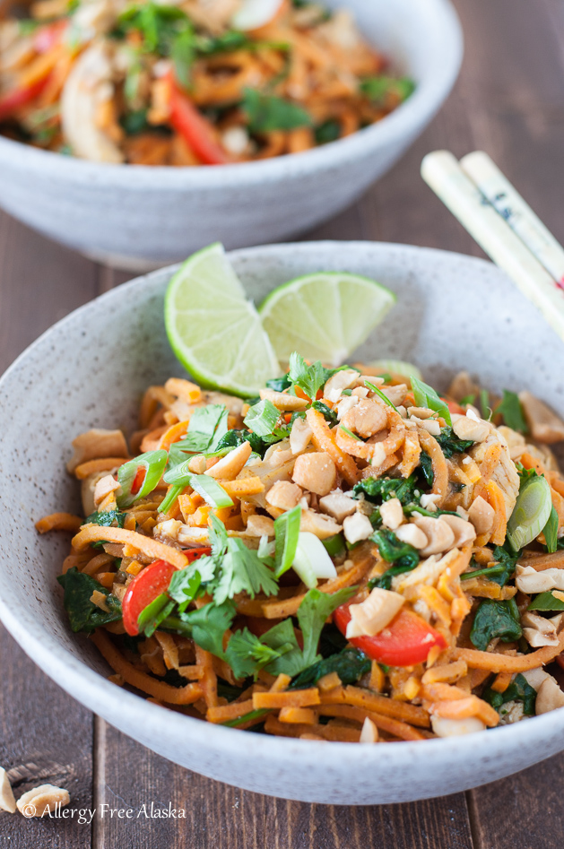 Thai Chicken & Sweet Potato Noodles Bowls from Allergy Free Alaska