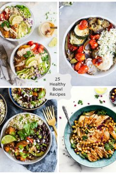 four images of healthy bowl recipes in a collage photo