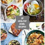 long collage image with 8 healthy bowl recipes from food bloggers around the web
