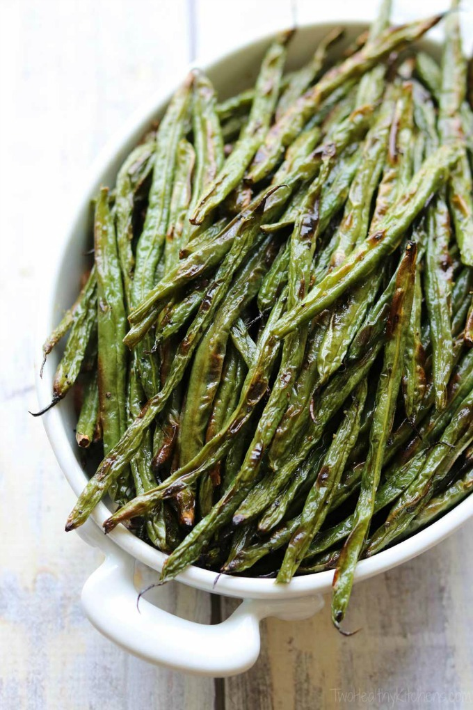 overhead image of Blistered Green Beans from Two Healthy Kitchens