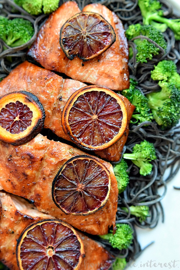 overhead image of Blood Orange Glazed Salmon from Homemade Interest