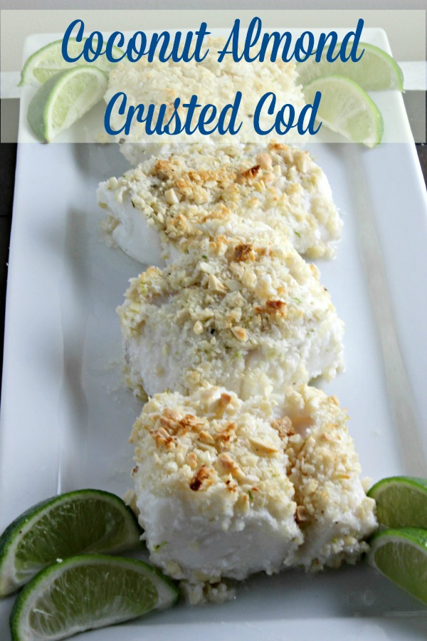overhead image of Coconut Almond Crusted Cod from Cooking in Stilettos