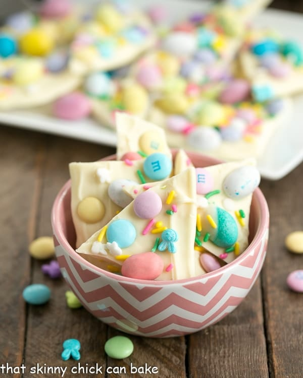 image of easy white chocolate easter bark from That Skinny Chick Can Bake