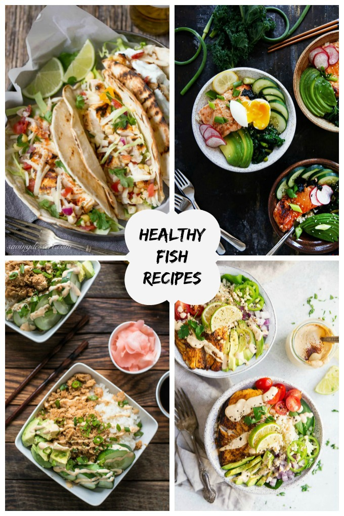 collage image featuring various healthy fish recipes