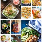 long collage image featuring various healthy fish recipes from around the web