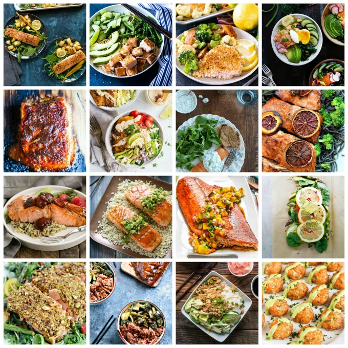 square collage image featuring various healthy fish recipes