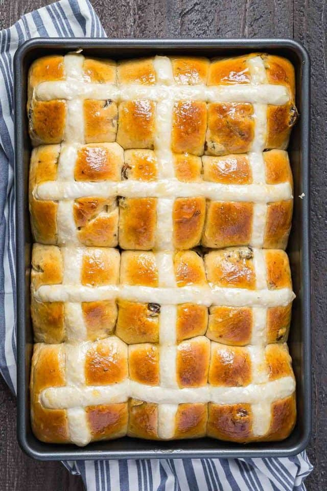 overhead image of Hot Cross Buns from Baked by an Introvert