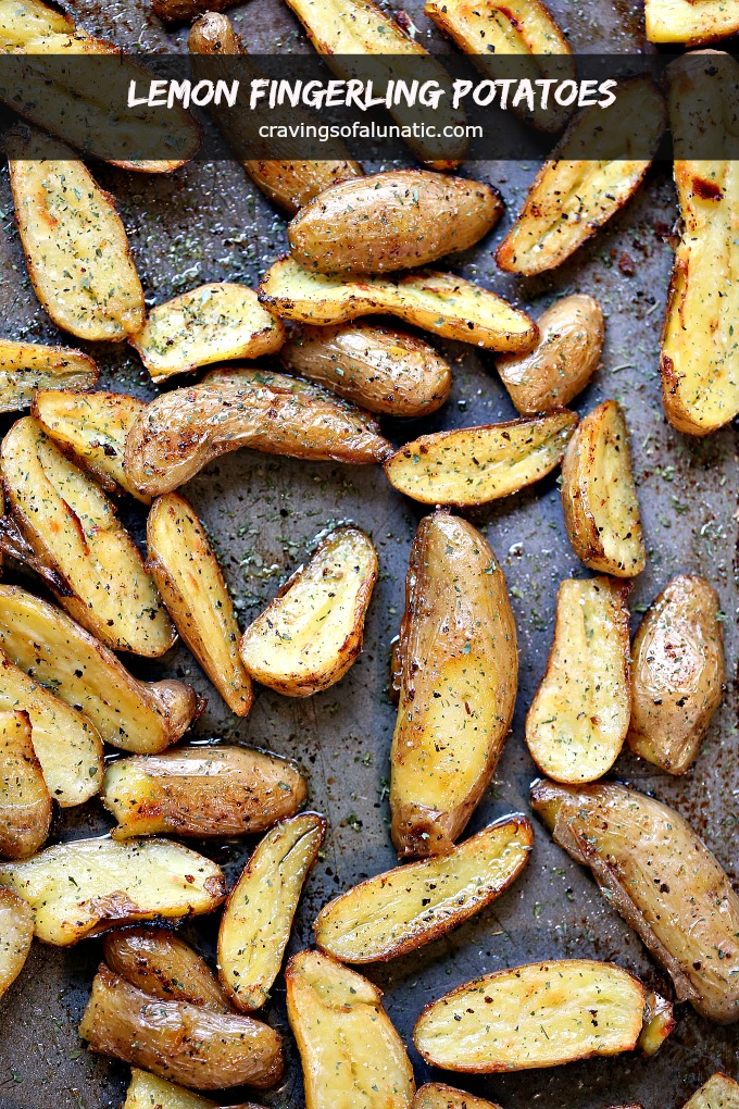 overhead image of lemon roasted fingerling potatoes