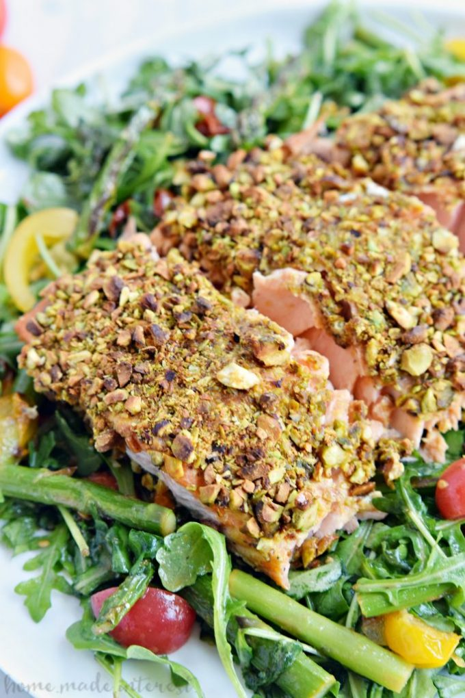 close up image of Pistachio Crusted Salmon from Homemade Interest