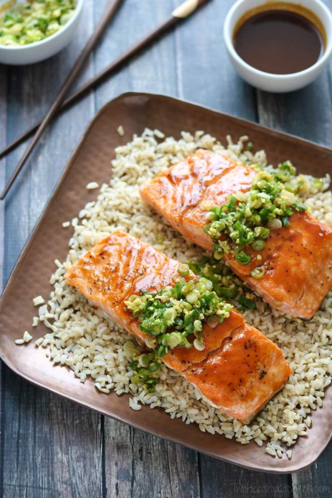 overhead image of Red Miso Salmon with Ginger Scallion Sauce from Two Healthy Kitchens