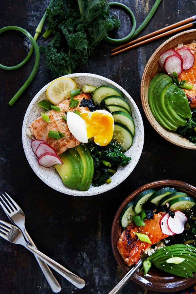 overhead image of Grilled Fish Bowls with Garlic Scapes and Kale from Lexi's Clean Kitchen