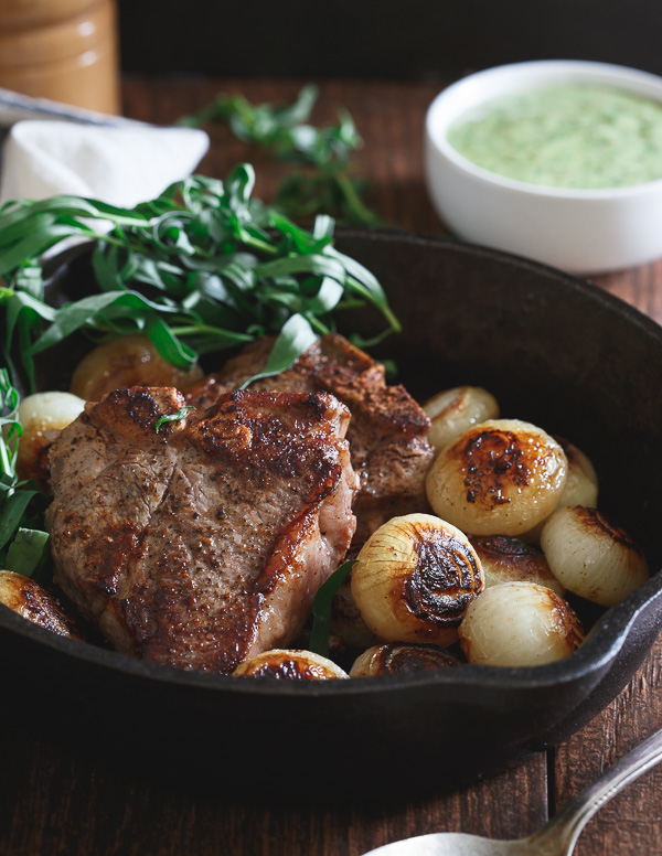close up image of Skillet Lamb Chops and Cipollini Onions from Running to the Kitchen