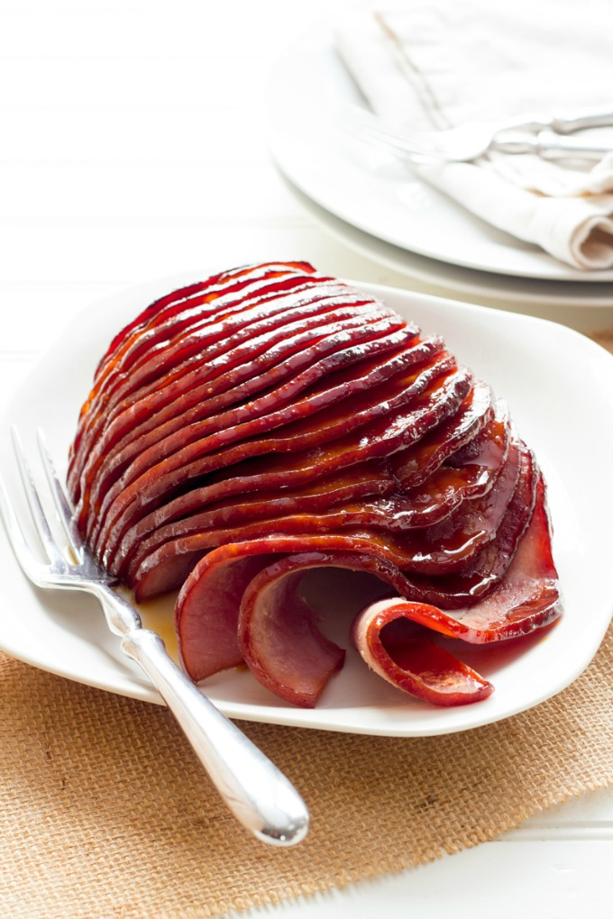 close up image of Slow Cooker Honey-Glazed Ham from Wholefully
