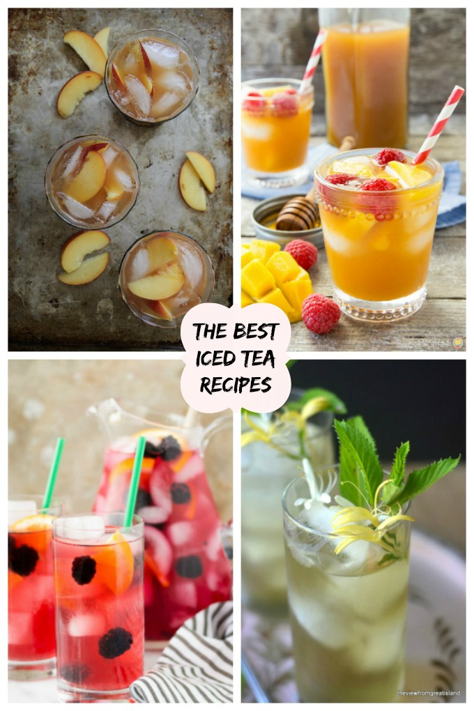 collage image of 4 of the best iced tea recipes on the internet