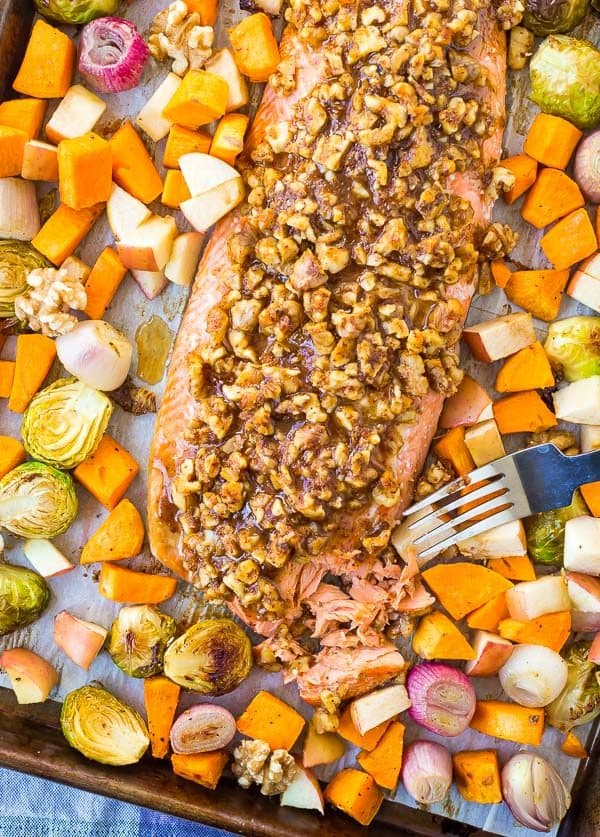 overhead image of Walnut Crusted Salmon Sheet Pan Dinner from Rachel Cooks