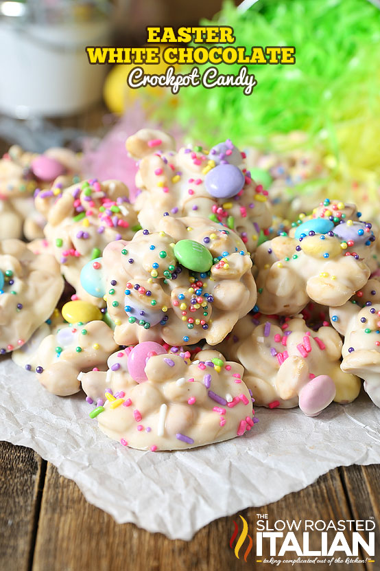 close up image of Easter White Chocolate Crockpot Candy from The Slow Roasted Italian