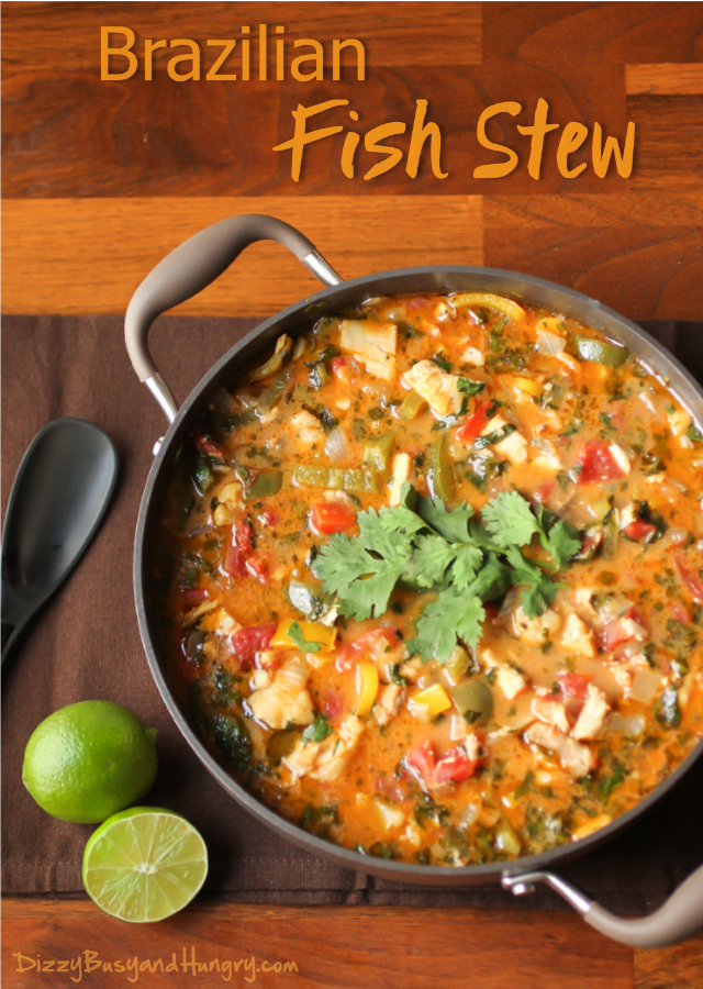 overhead image of Brazilian Fish Stew from Dizzy, Busy and HungryBrazilian Fish Stew from Dizzy, Busy and Hungry