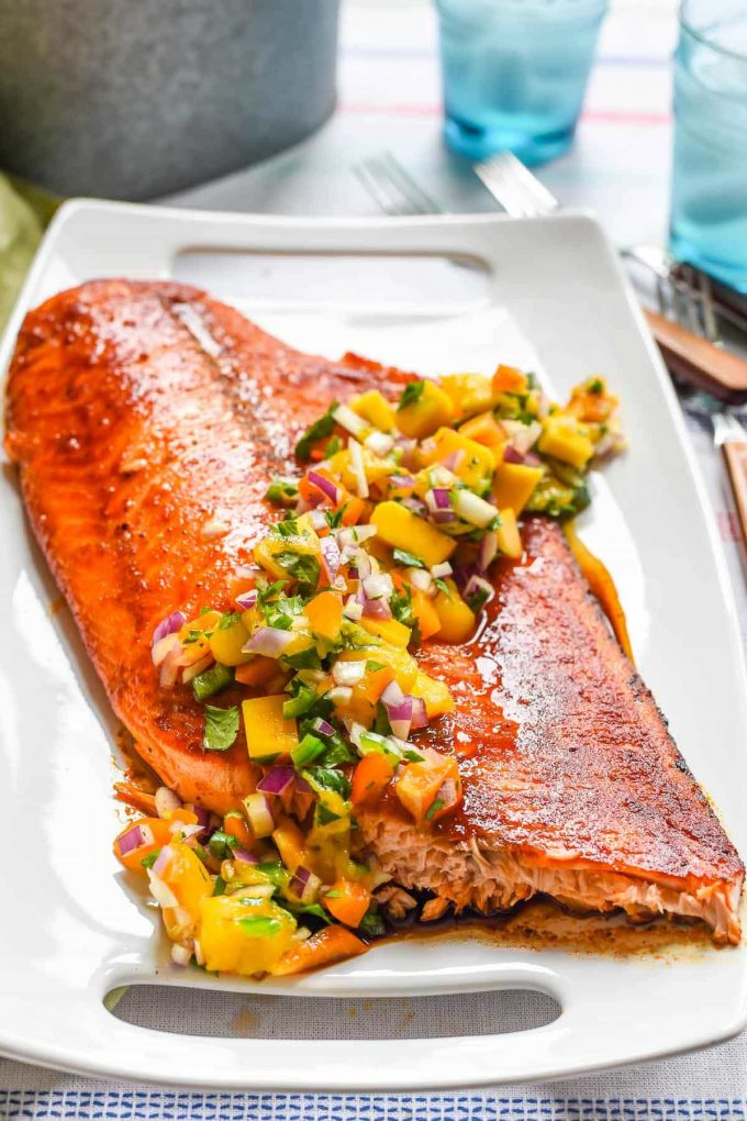 overhead image of Grilled Salmon with Mango Salsa from Neighbor Food