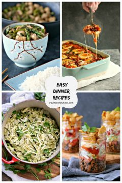 10 Easy Dinner Recipes collage image containing 4 dinner recipes