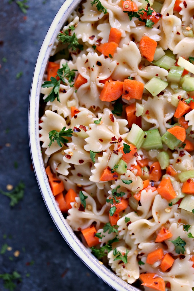 closeup image of Bow Tie Pasta Salad