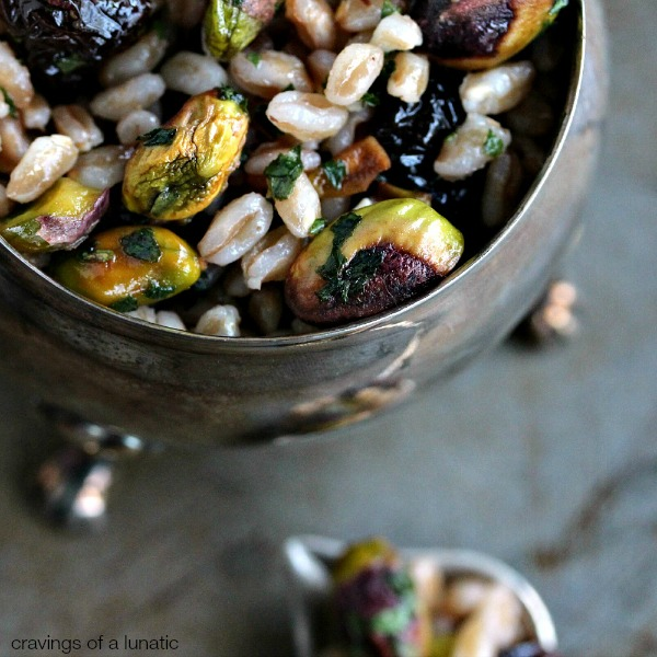 close up image of Farro with Dried Cherries and Pistachios