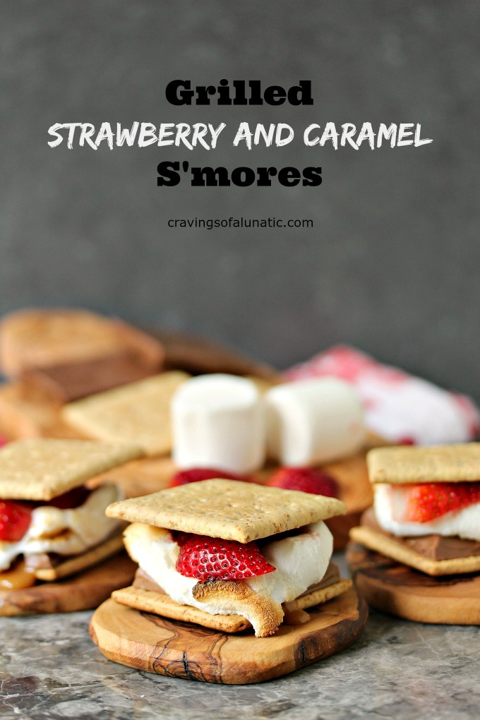 Grilled Strawberry and Caramel S'mores ready for serving