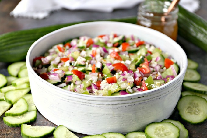 close up image of Cucumber Salad with Meyer Lemon Vinaigrette being served