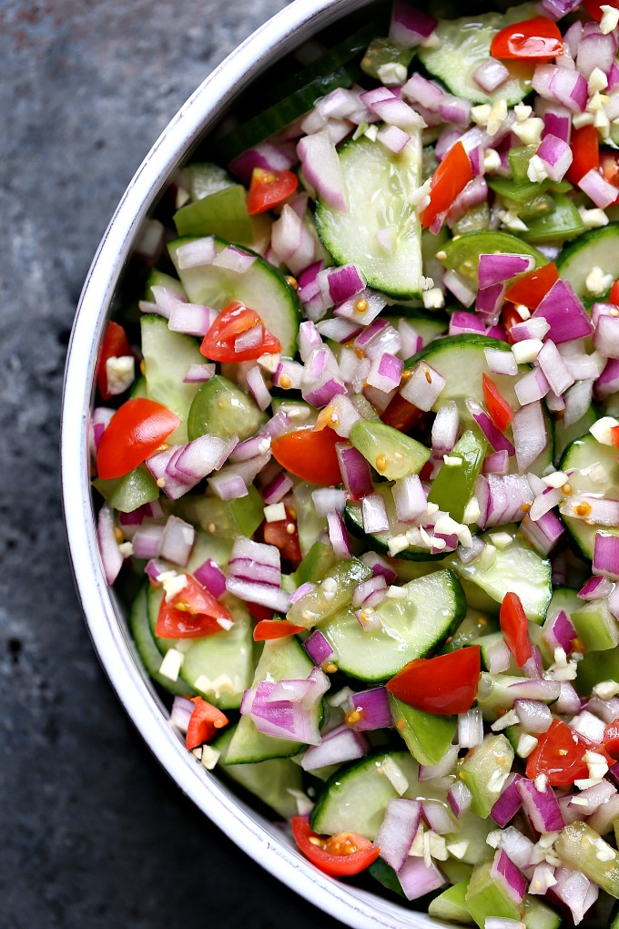 overhead image of cucumber salad with meyer lemon vinaigrette