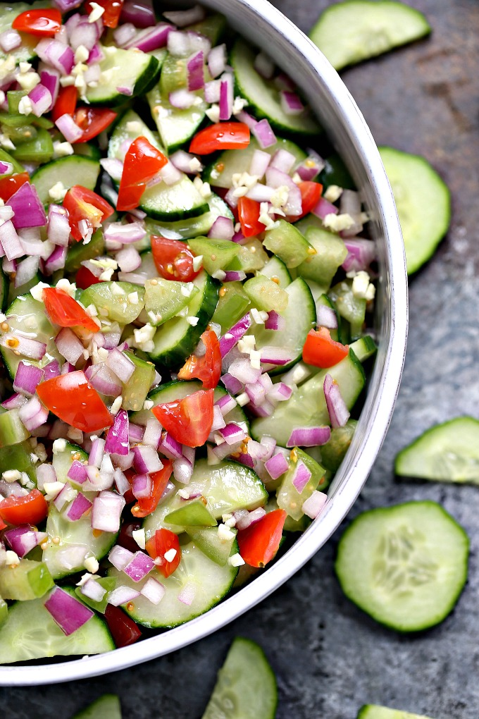 close up overhead image of cucumber salad with meyer lemon vinaigrette