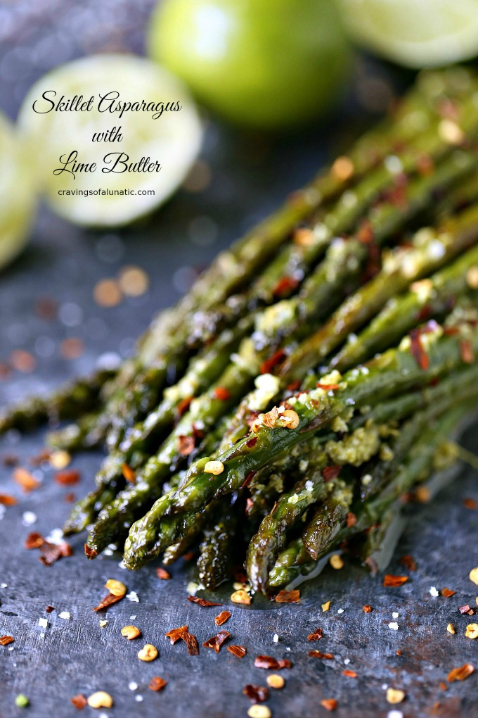 close up image of skillet asparagus with lime butter