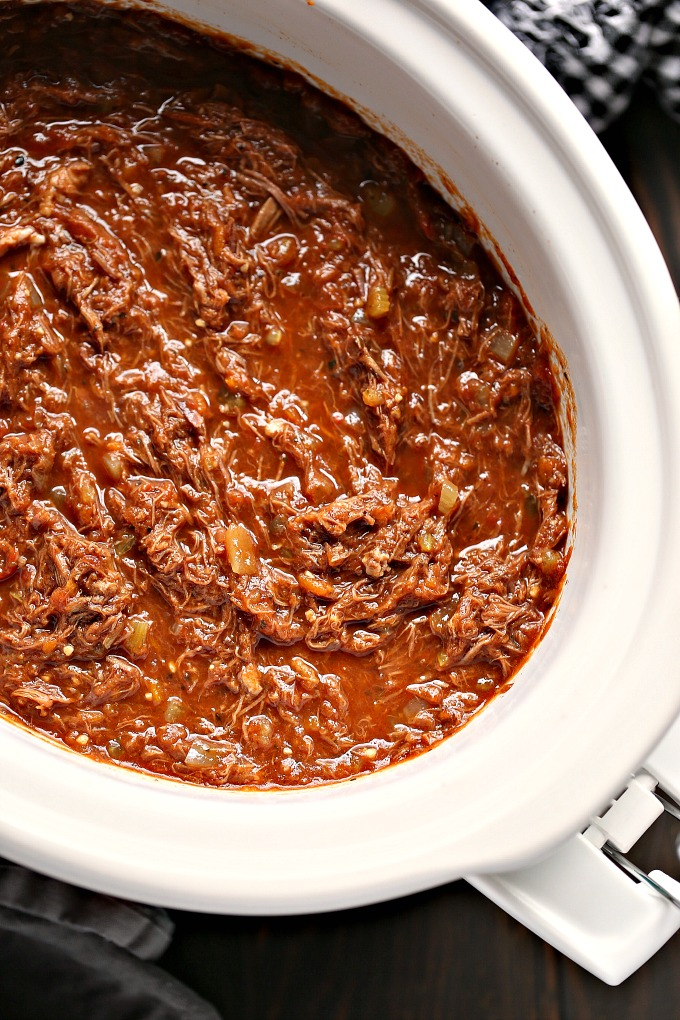 overhead image of slow cooker short rib ragu cooking