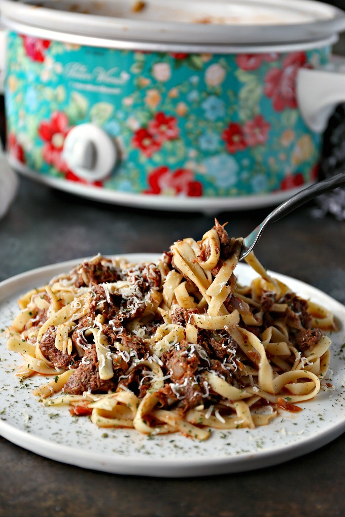 close up image of a plate of slow cooker short rib ragu