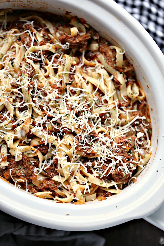 overhead image of slow cooker short rib ragu