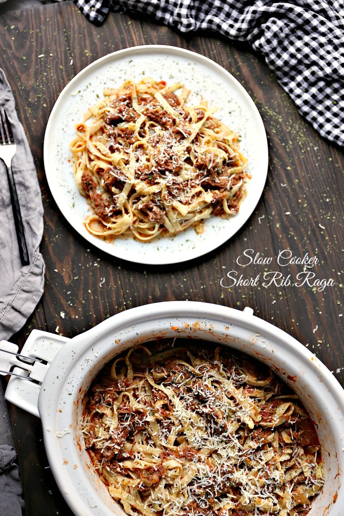 overhead image showing short rib ragu in a slow cooker and on a white plate t