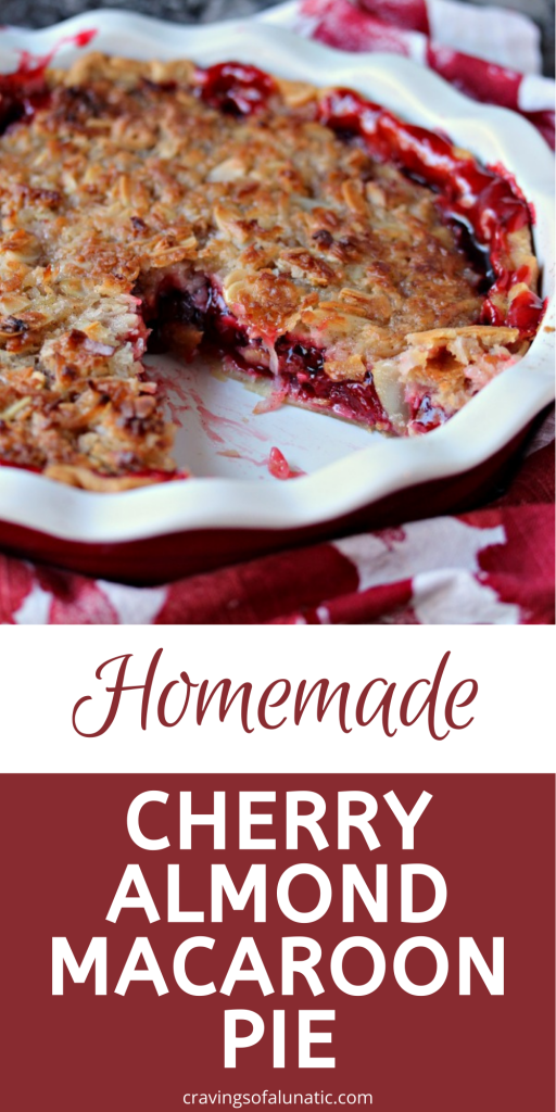 Cherry Almond Macaroon Pie in a red and white pie dish.