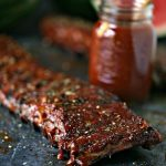 Grilled Ribs slathered with Watermelon Barbecue Sauce.