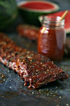 Grilled Ribs with Watermelon BBQ Sauce